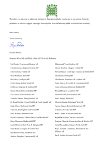 Letter to PM on Clean Air and Covid 2